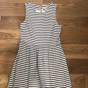 Jcrew black and white striped zip back dress